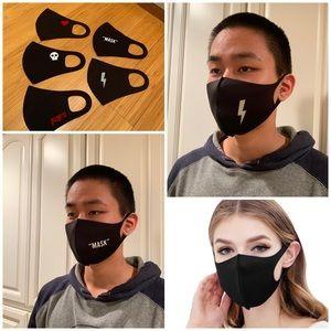 10 dust face masks, black fabric